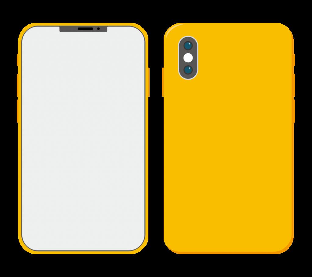 黄色のスマートフォン(アイコンなし)のイラスト