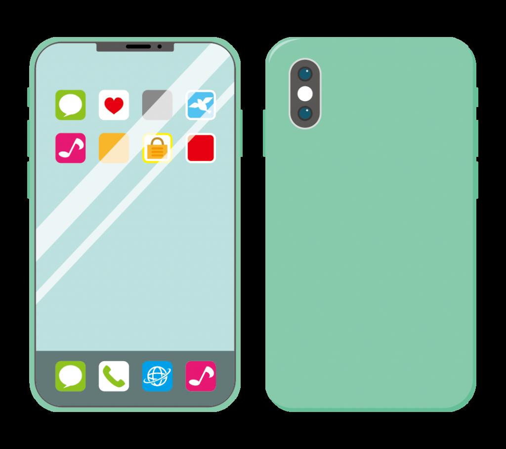 緑色のスマートフォン(アイコンあり)のイラスト