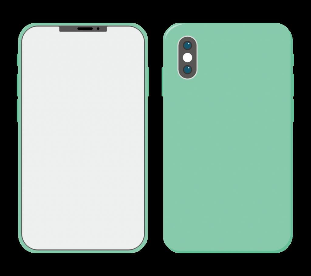 緑色のスマートフォン(アイコンなし)のイラスト
