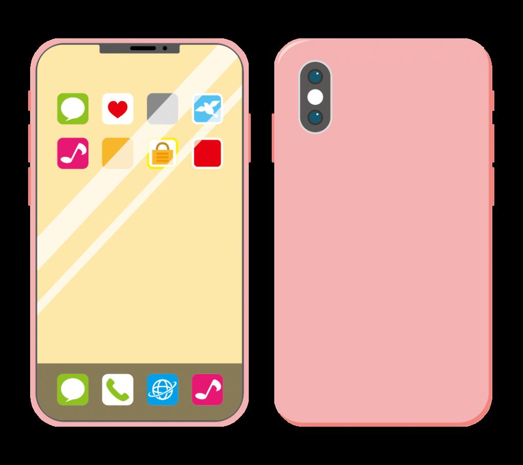 ピンク色のスマートフォン(アイコンあり)のイラスト