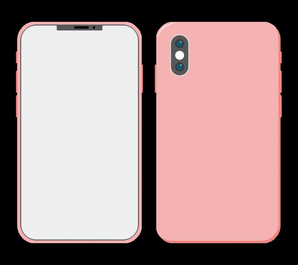 ピンク色のスマートフォン(アイコンなし)のイラスト