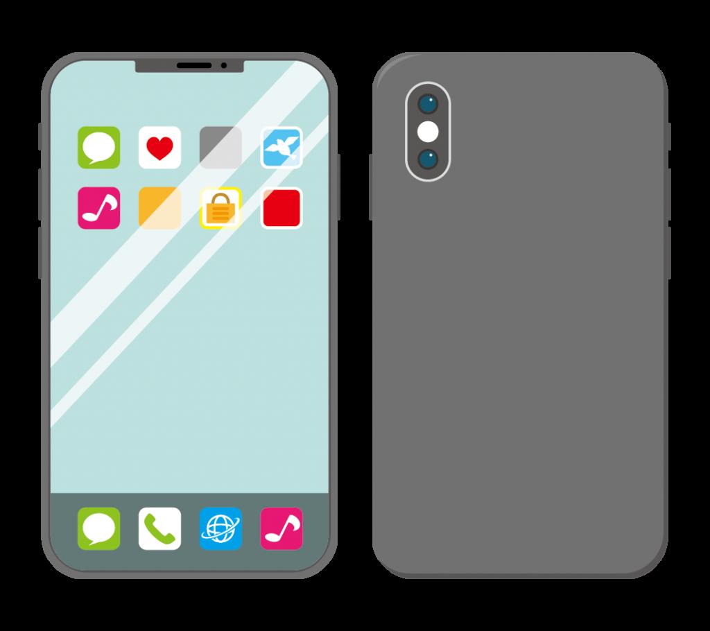 黒色のスマートフォン(アイコンあり)のイラスト
