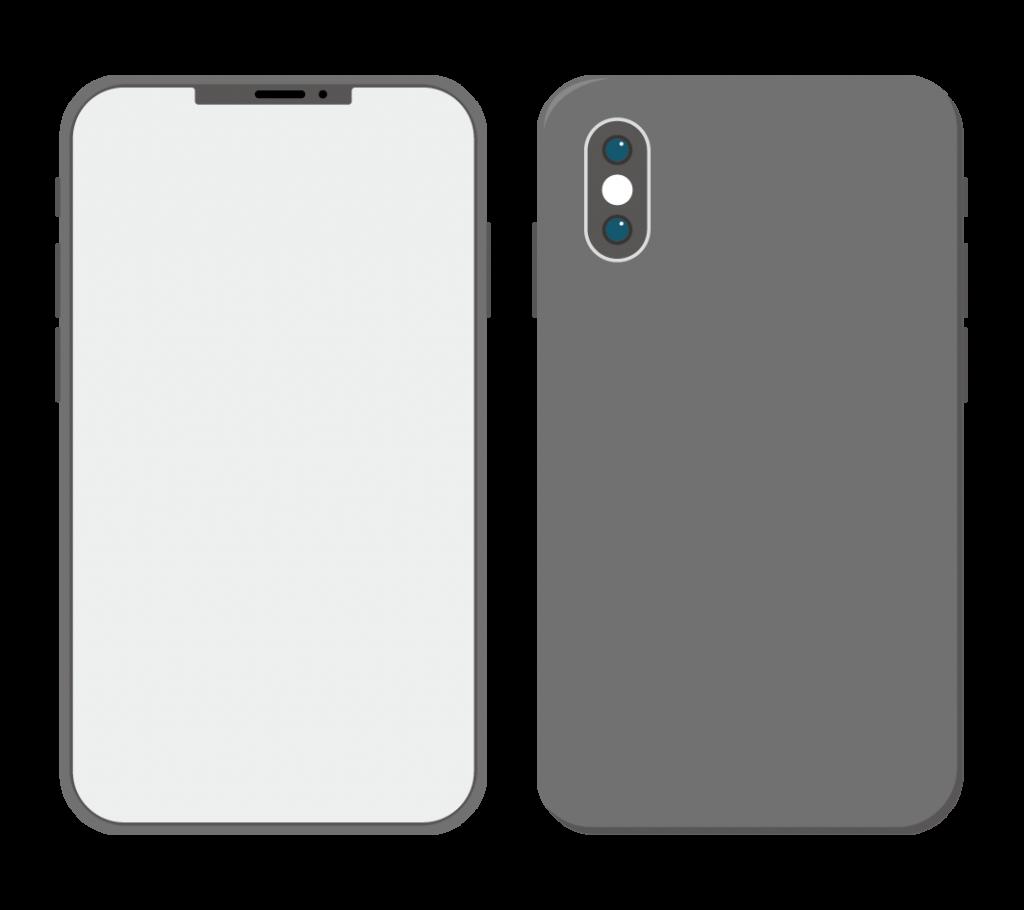 黒色のスマートフォン(アイコンなし)のイラスト