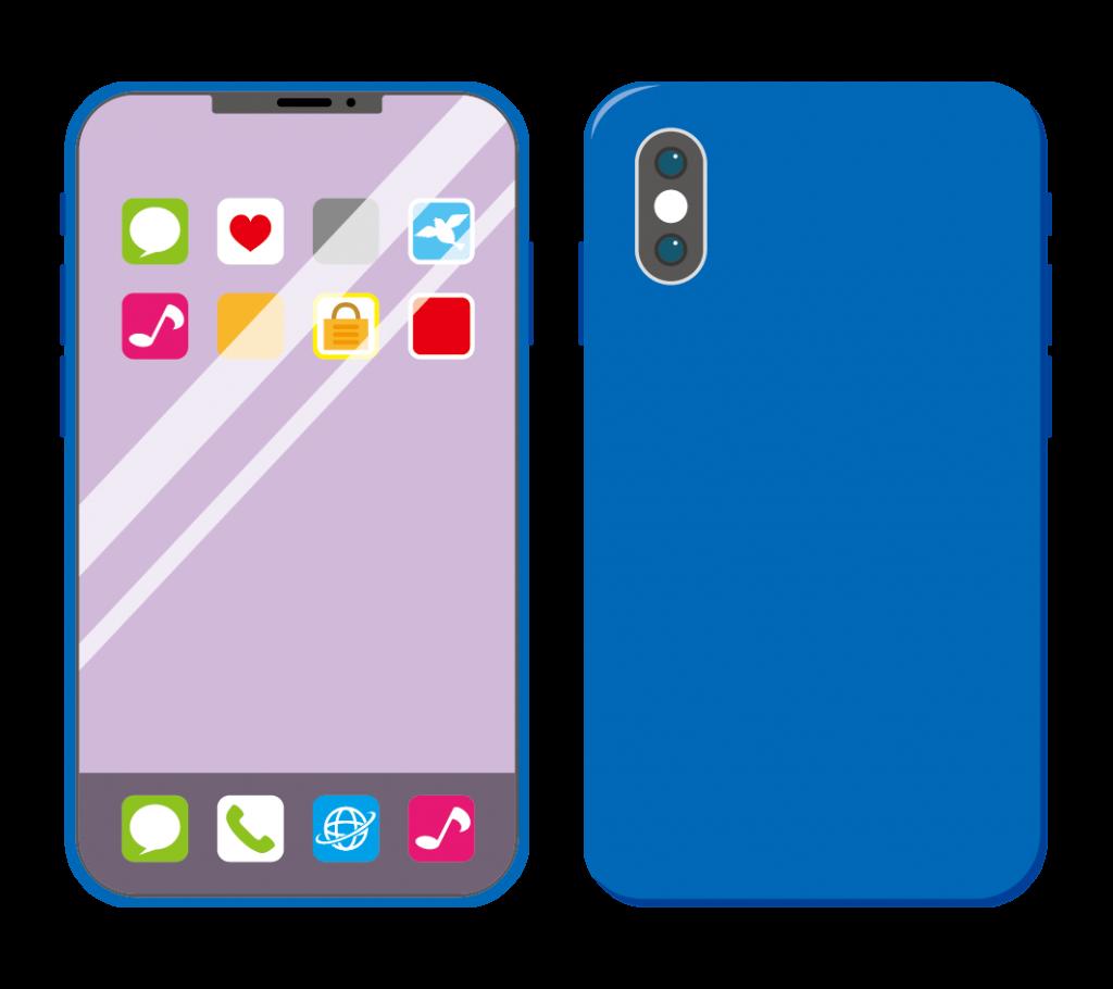 青色のスマートフォン(アイコンあり)のイラスト