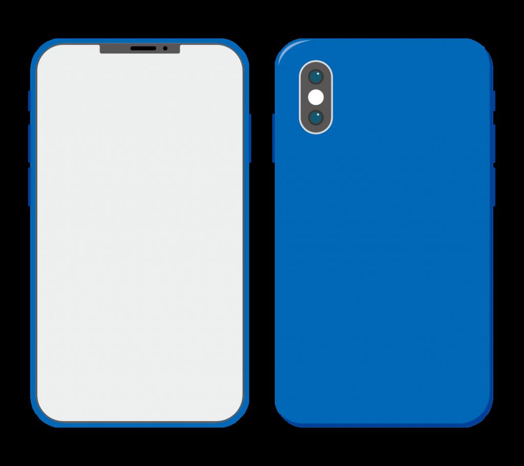 青色のスマートフォン(アイコンなし)のイラスト