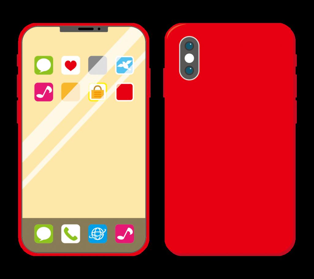 赤色のスマートフォン(アイコンあり)のイラスト