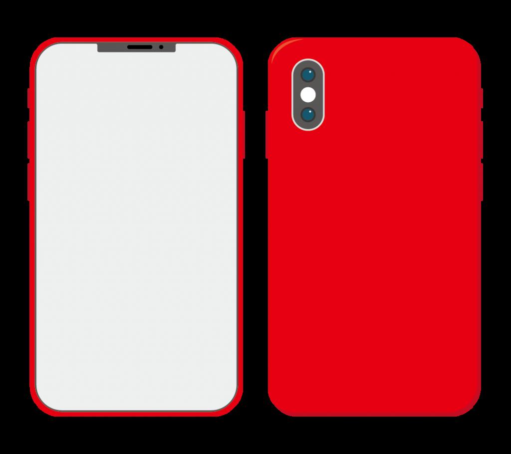 赤色のスマートフォン(アイコンなし)のイラスト