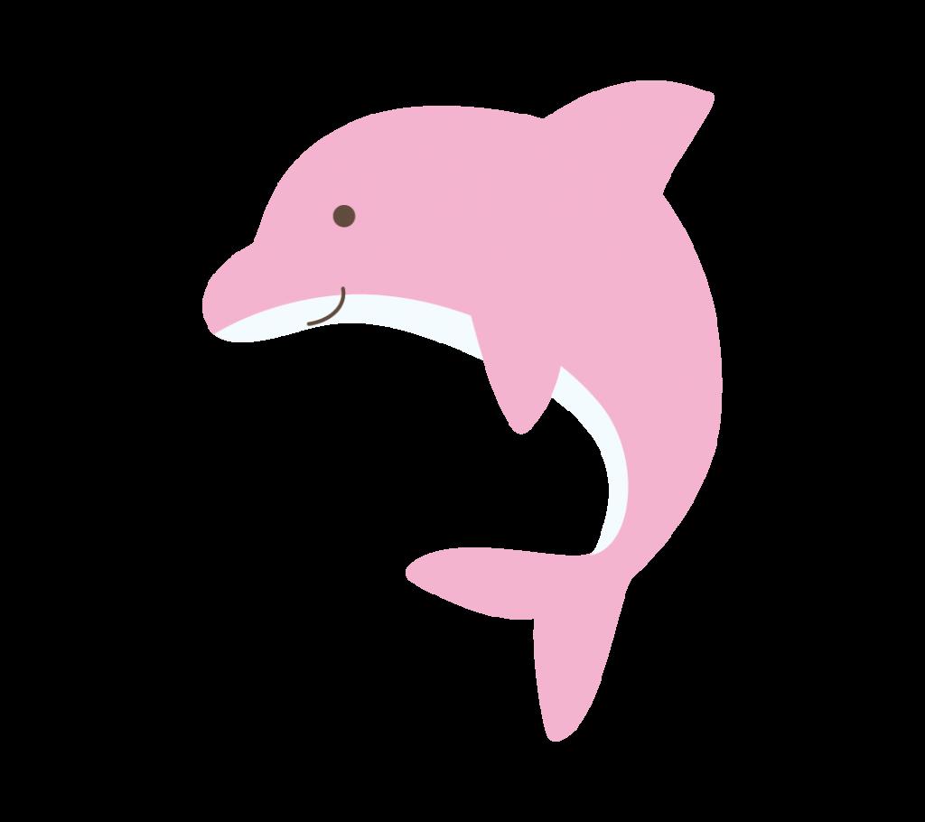 ピンク色のイルカのイラスト