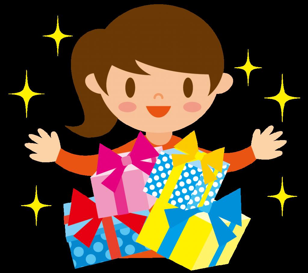 プレゼントと女の子のイラスト