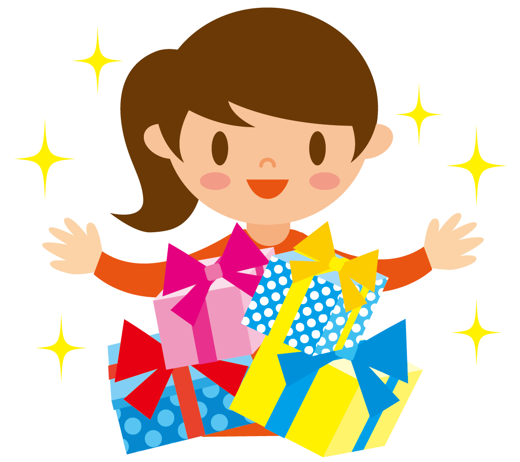 プレゼントと女の子のイラスト 高品質の無料イラスト素材集のイラサポフリー