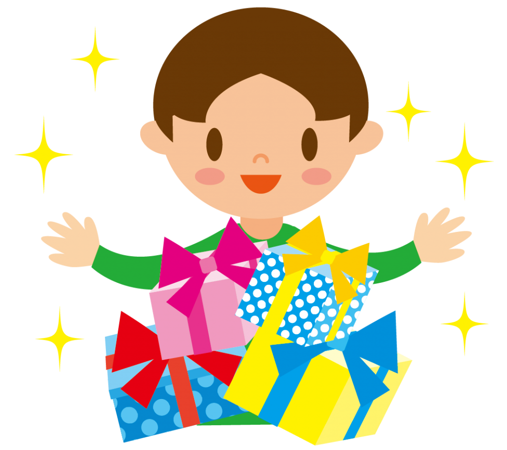プレゼントと男の子のイラスト
