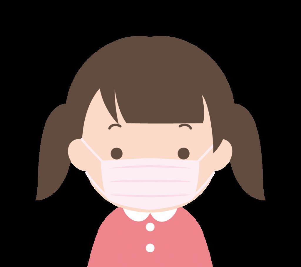 マスク姿の女の子のイラスト