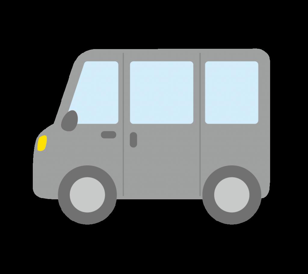 グレー色のワンボックスカーのイラスト