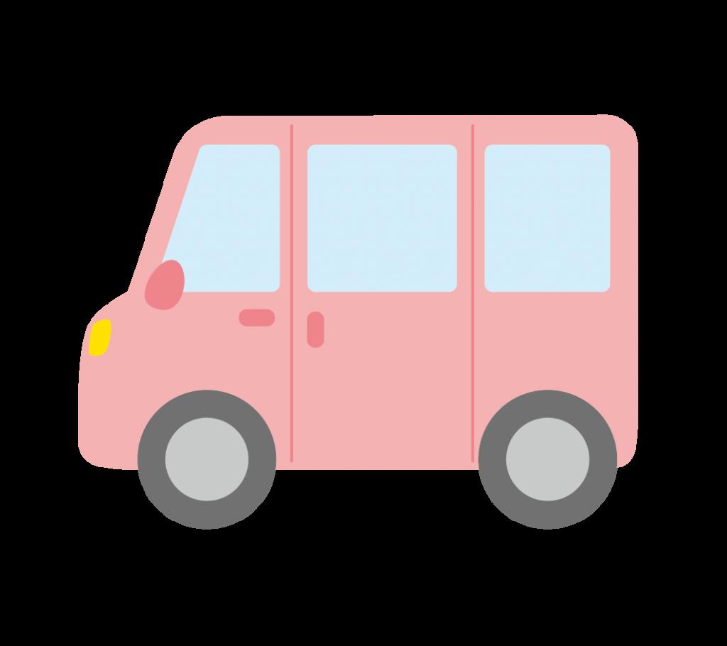 ピンク色のワンボックスカーのイラスト