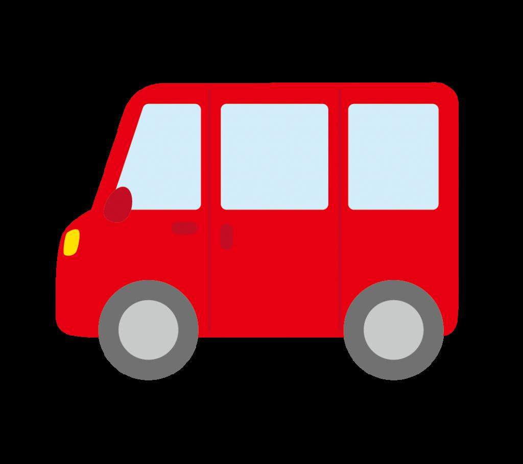 赤色のワンボックスカーのイラスト