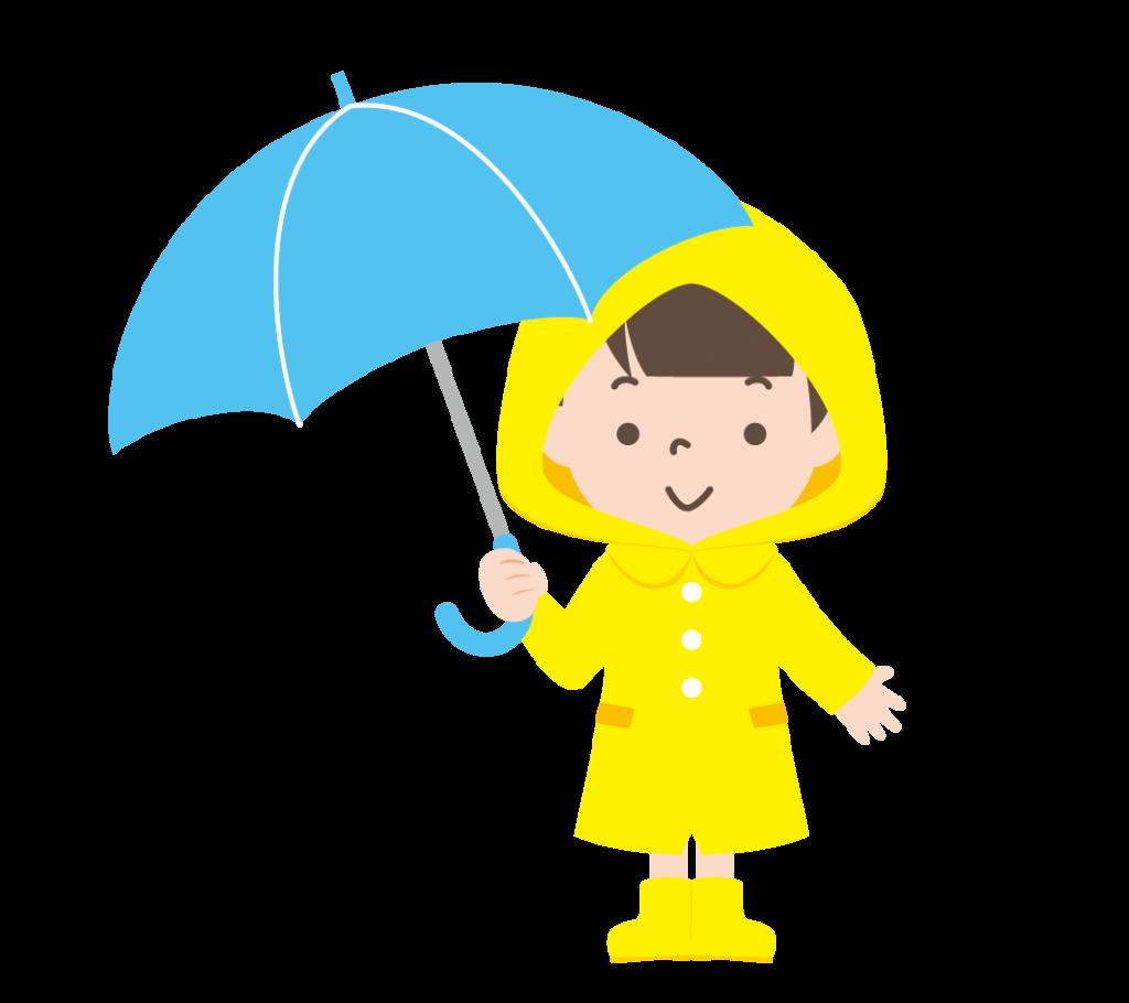傘をさしたカッパ姿の女の子のイラスト