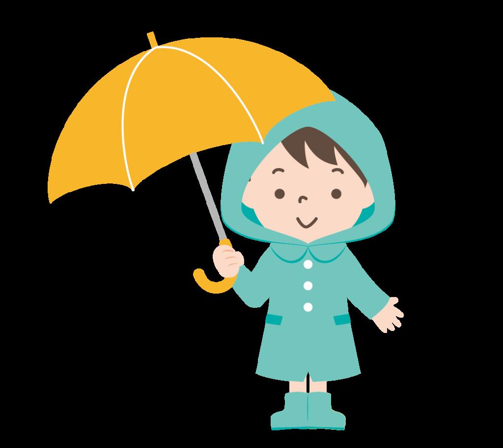 傘をさしたカッパ姿の男の子のイラスト