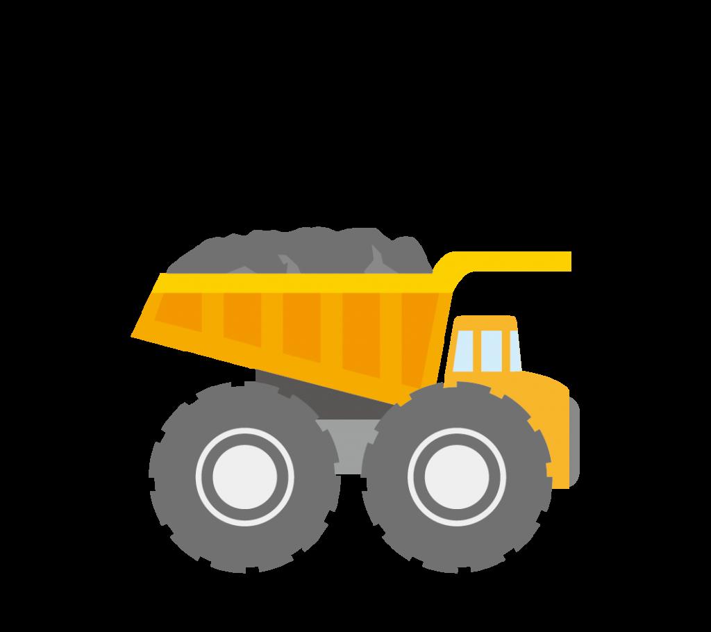 土を積んだ大型ダンプカーのイラスト