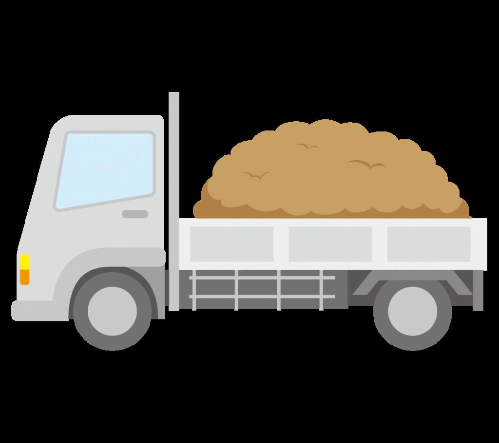 土を積んだトラックのイラスト