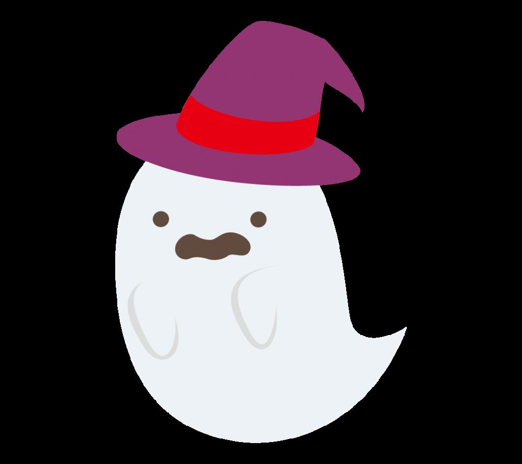 帽子をかぶったおばけのイラスト