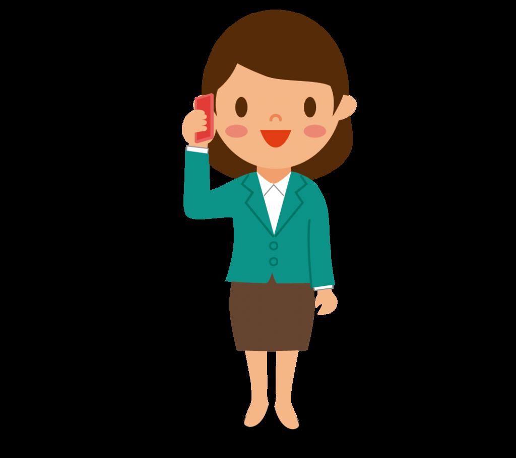 携帯で会話する女性のイラスト
