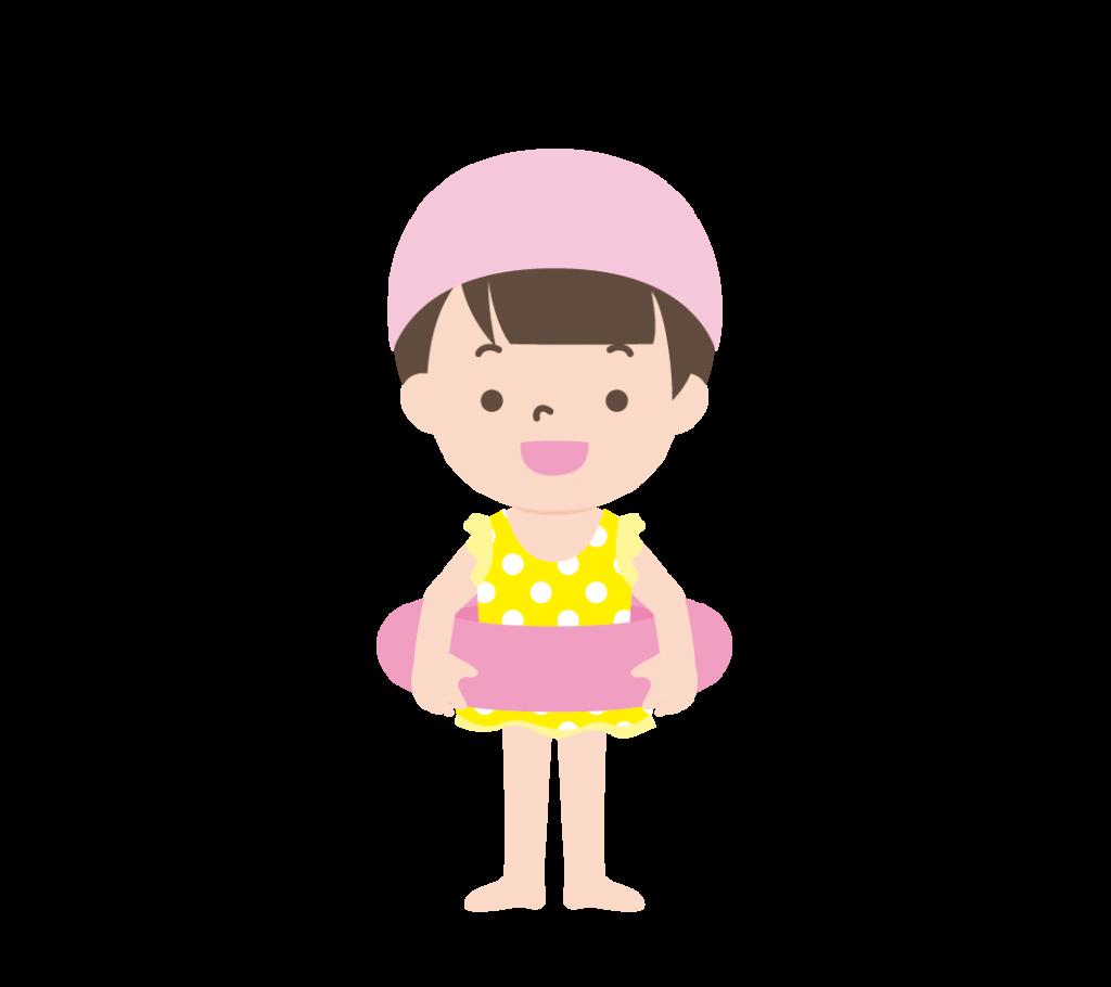 水着姿で浮き輪を持つ女の子のイラスト