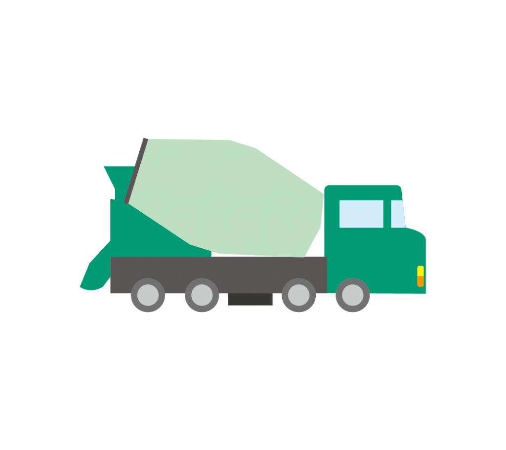 緑色のミキサー車(生コン車) のイラスト