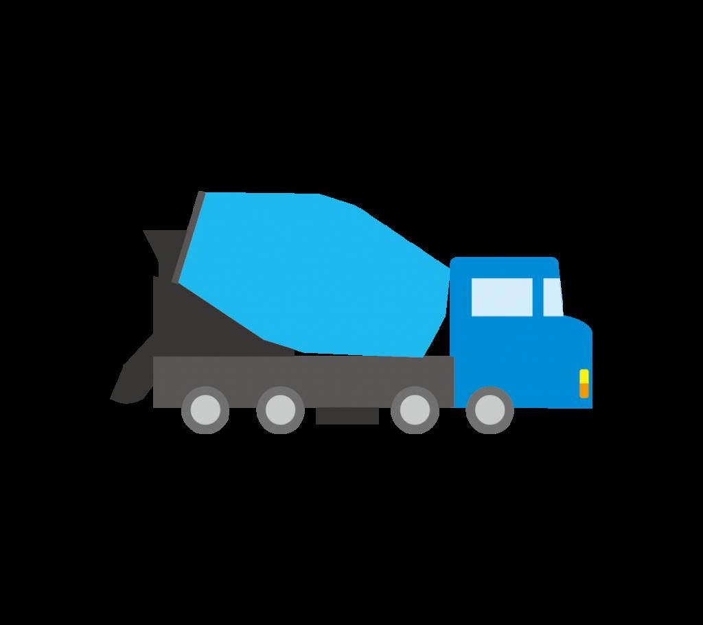 青色のミキサー車(生コン車) のイラスト