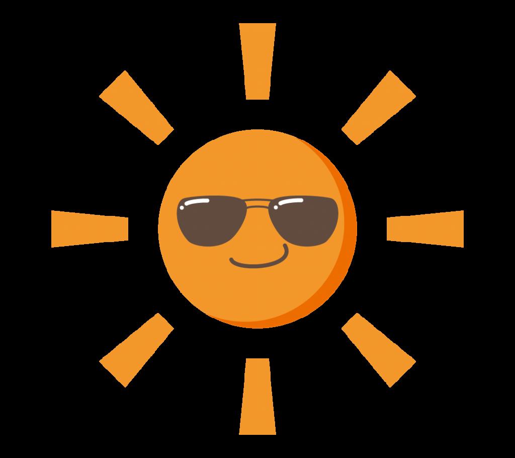真夏日の太陽のイラスト