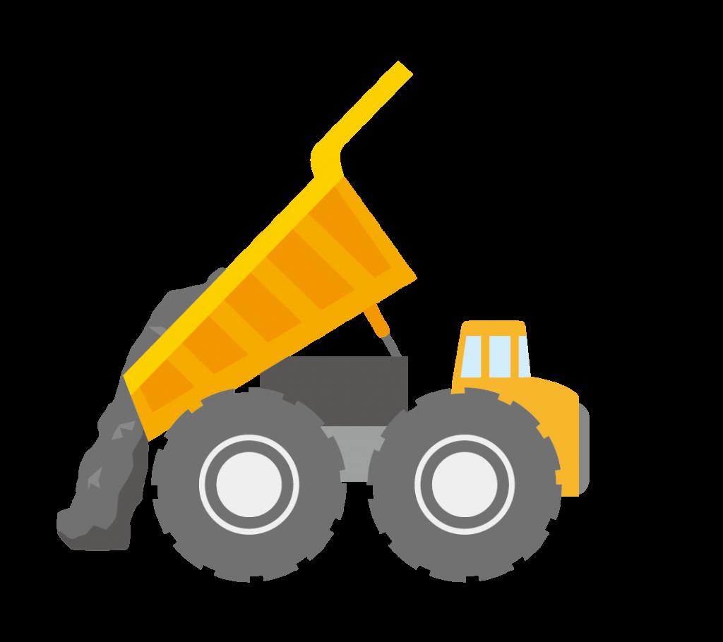 積んだ土を降ろす大型ダンプカーのイラスト