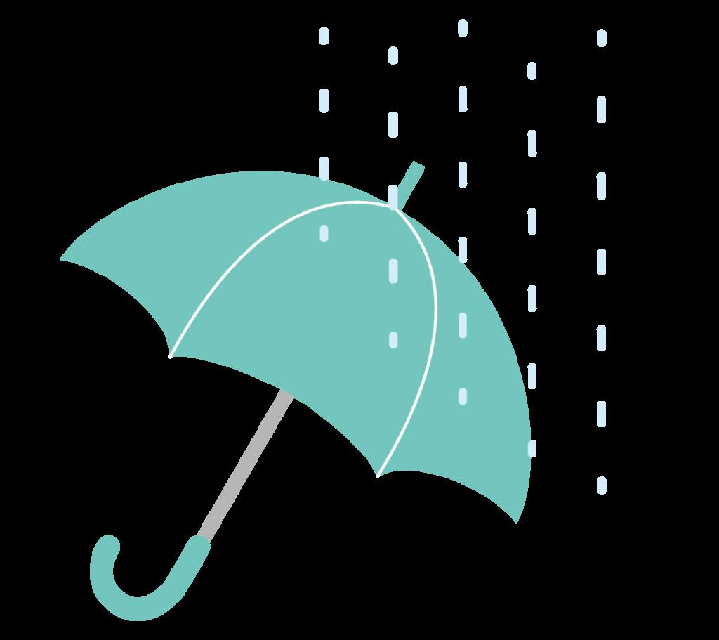 緑色の傘のイラスト