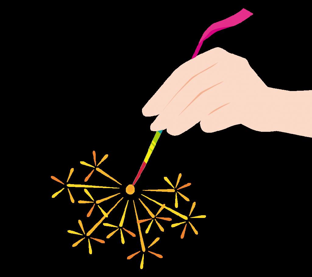 線香花火のイラスト