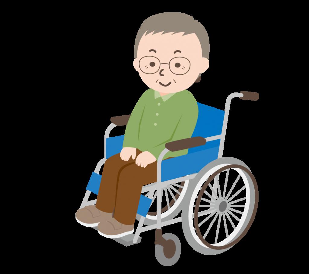 車いすに乗ったおじいちゃんのイラスト