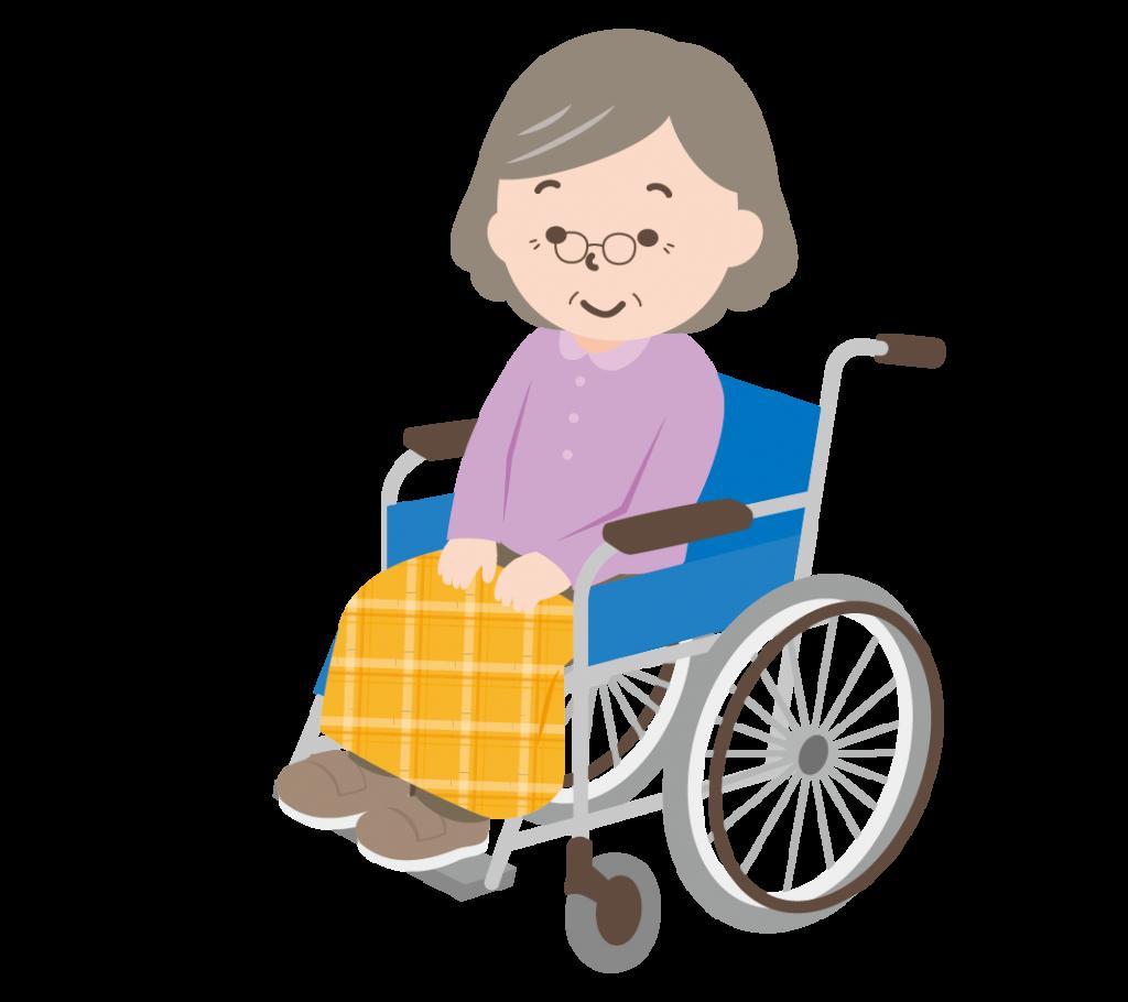 車いすに乗ったおばあちゃんのイラスト