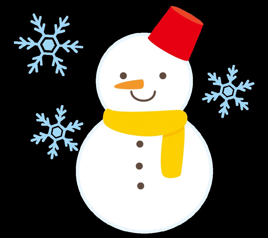 雪とゆきだるまのイラスト