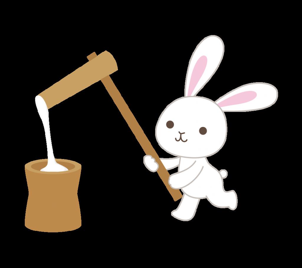 餅つきするウサギのイラスト